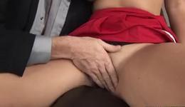 Horny brunette hooker sits on the heavy big schlong