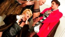 Two fabulous ladies on their knees dressed slutty and getting pissed