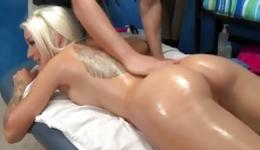 Blonde breathtaking sweetheart is screaming during sex on massage